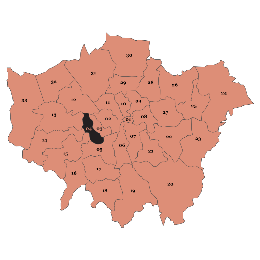 Map of London, Hammersmith and Fulham