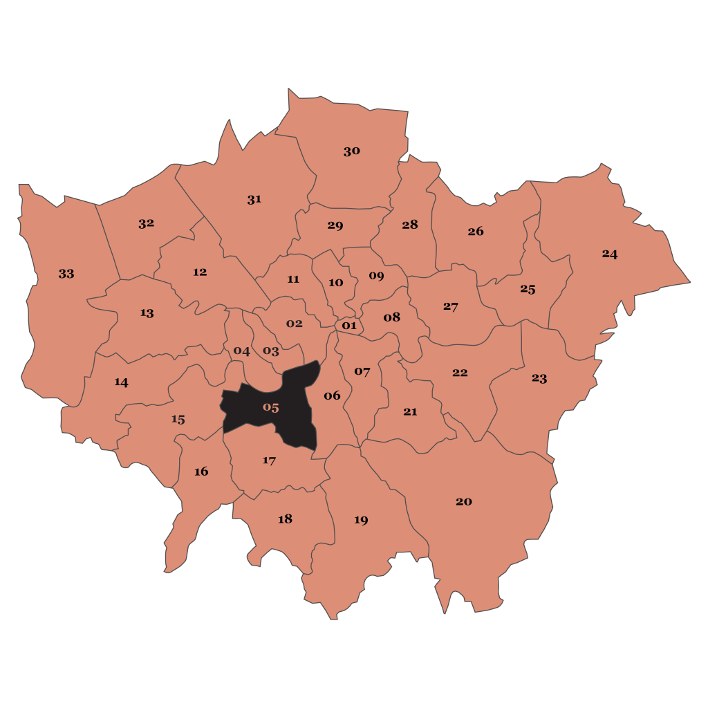 Map of London, Wandsworth