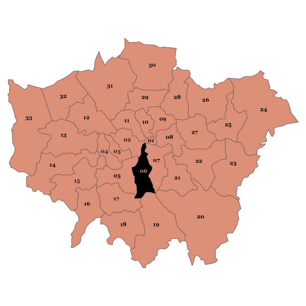Map of London, Lambeth