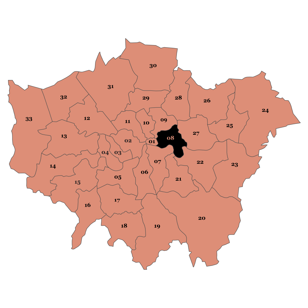 Map of London, Tower Hamlets