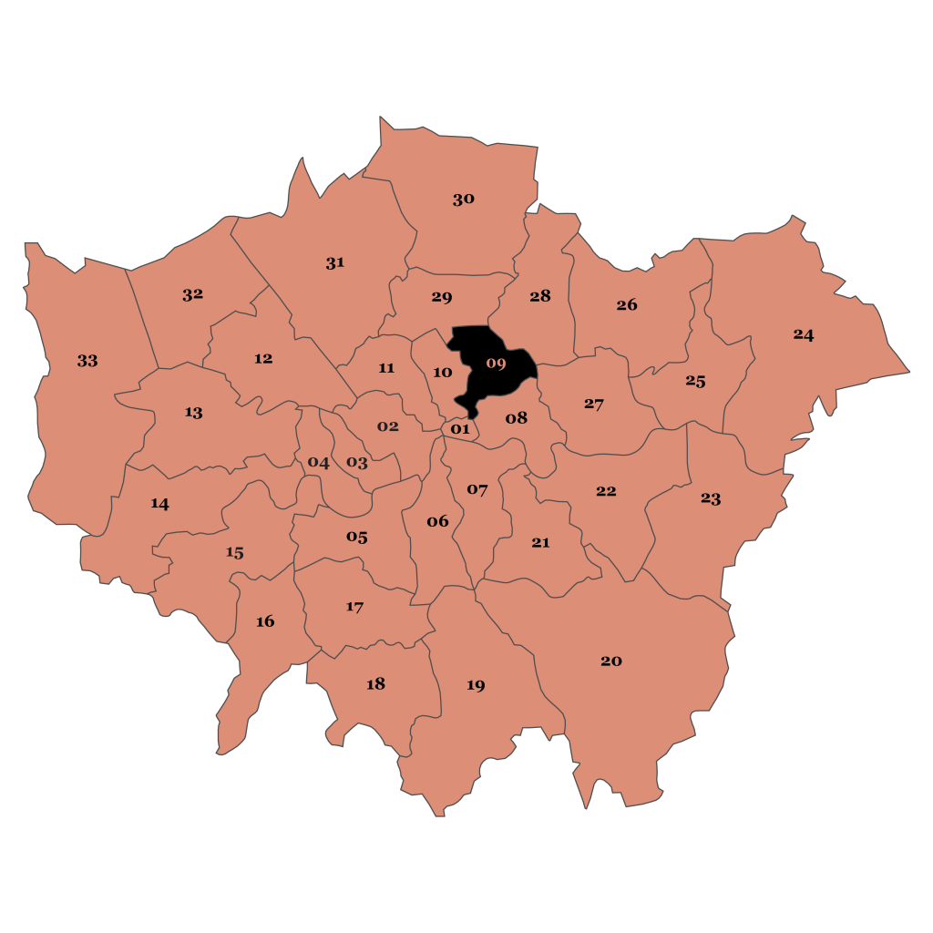 Map of London, Hackney