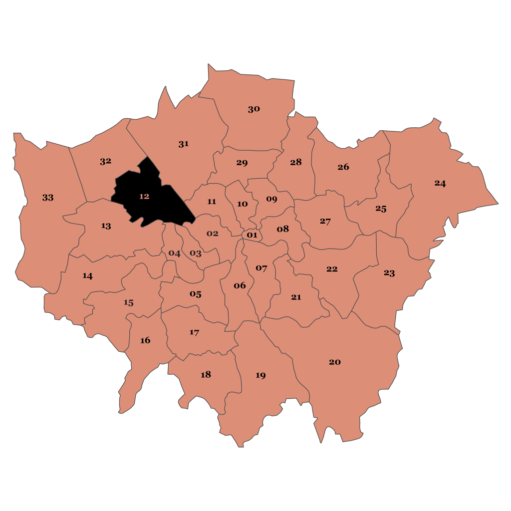 Map of London, Brent