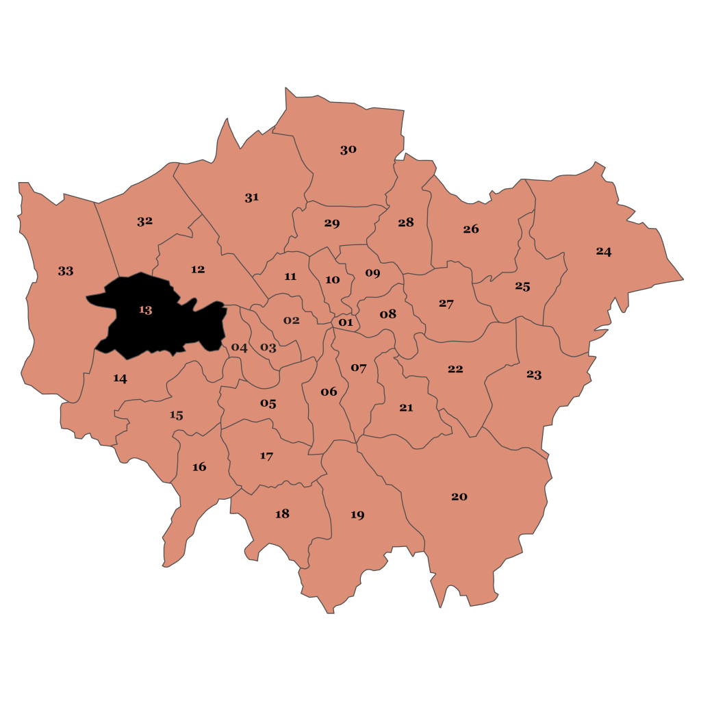 Map of London, Ealing