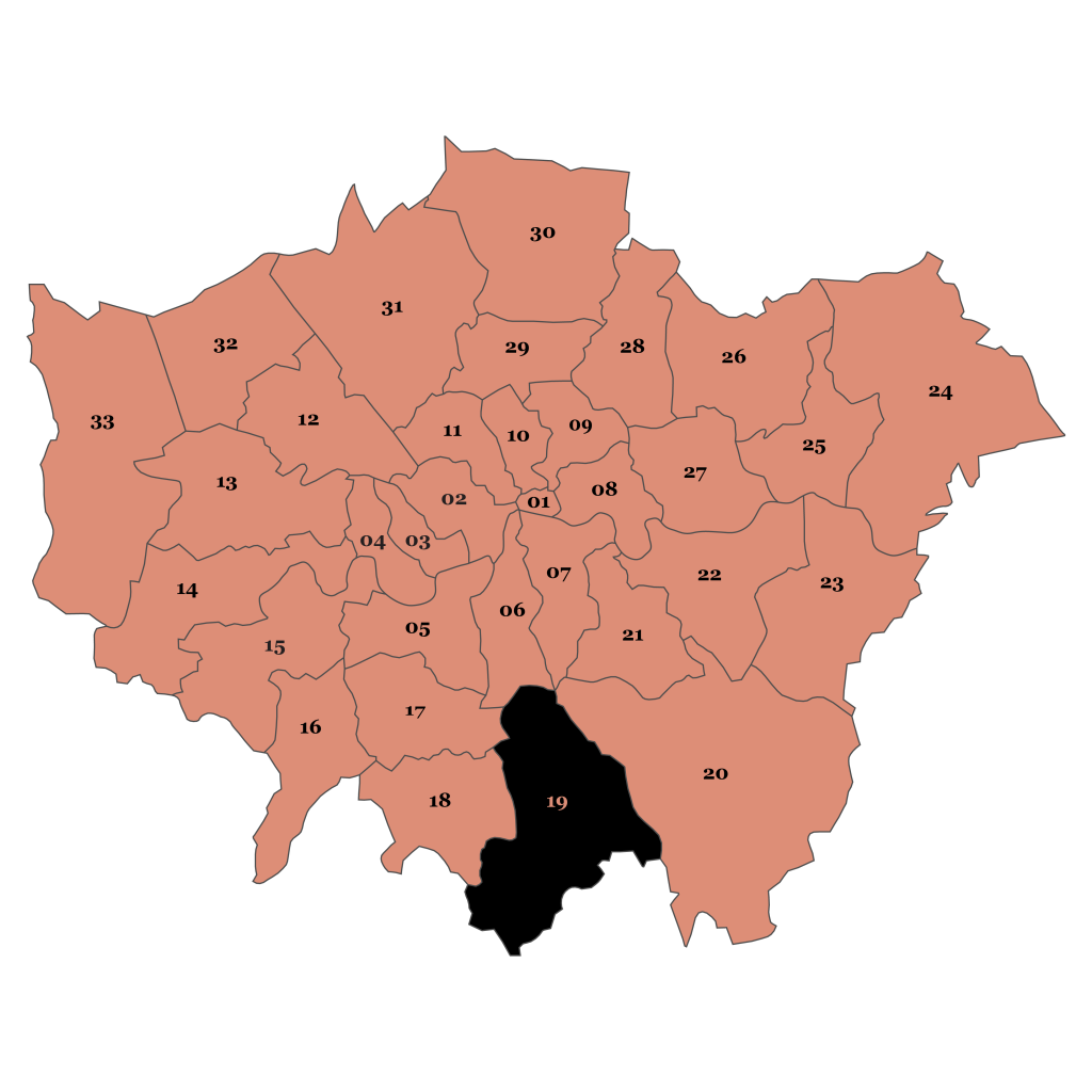 Map of London, Croydon