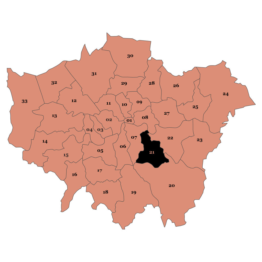 Map of London, Lewisham