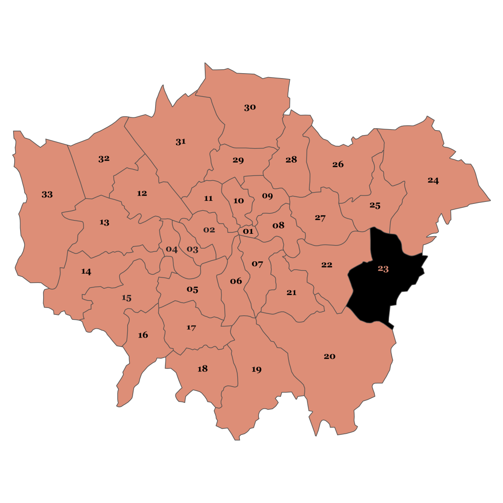 Map of London, Bexley