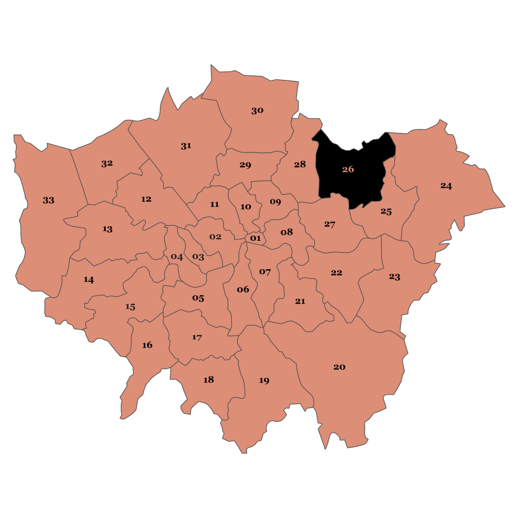Map of London, Redbridge