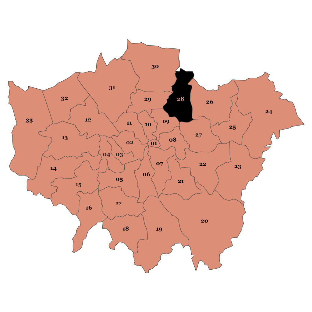 Map of London, Waltham Forest