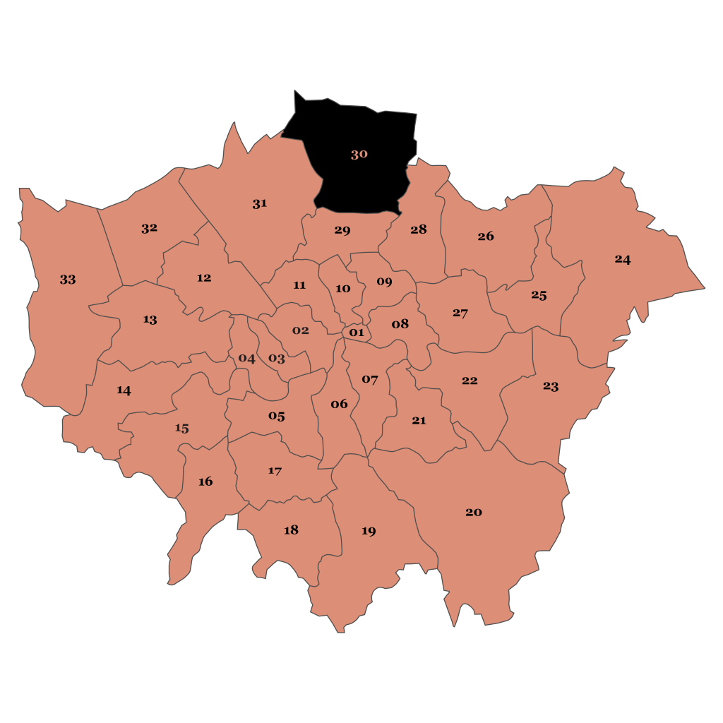 Map of London, Enfield
