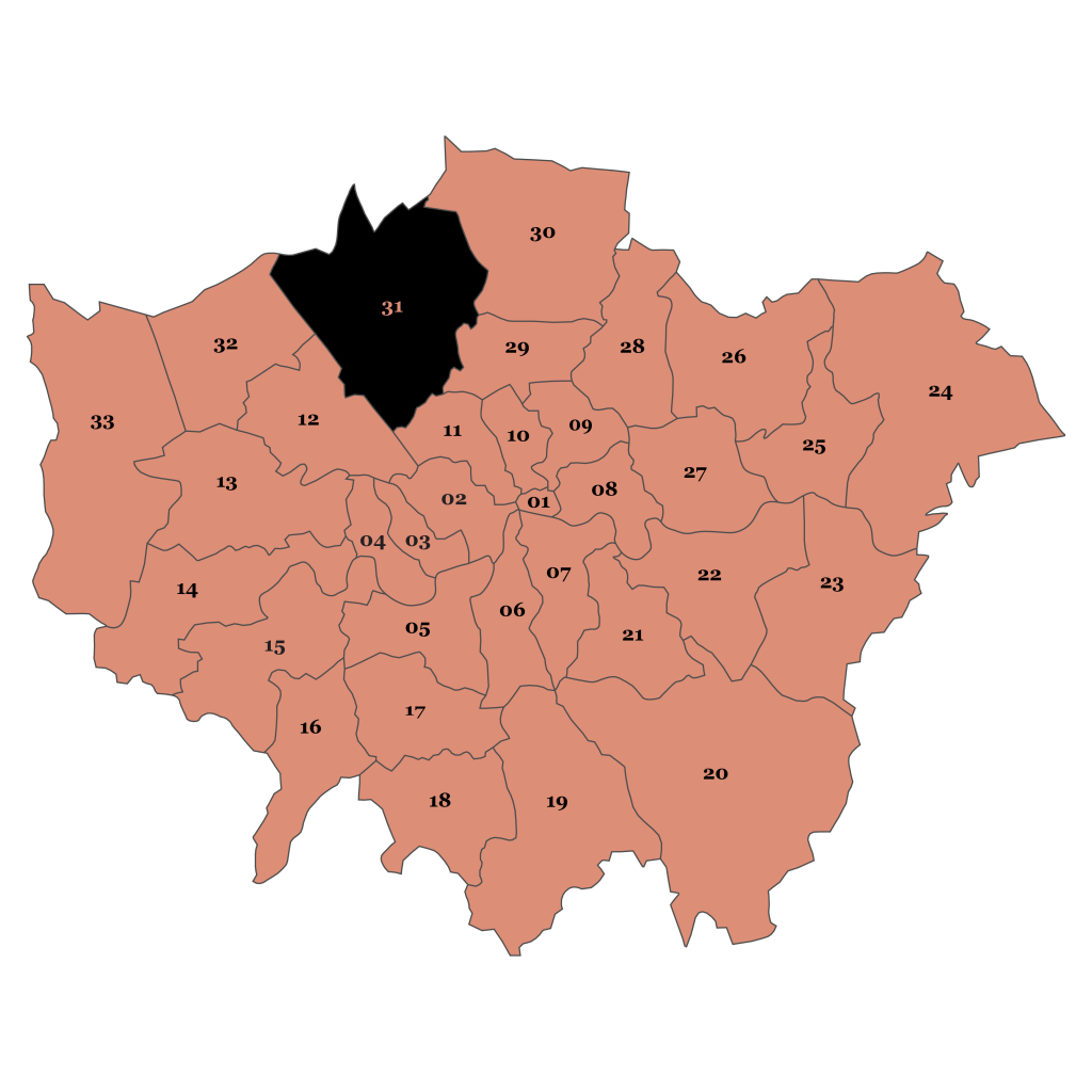 Map of London, Barnet