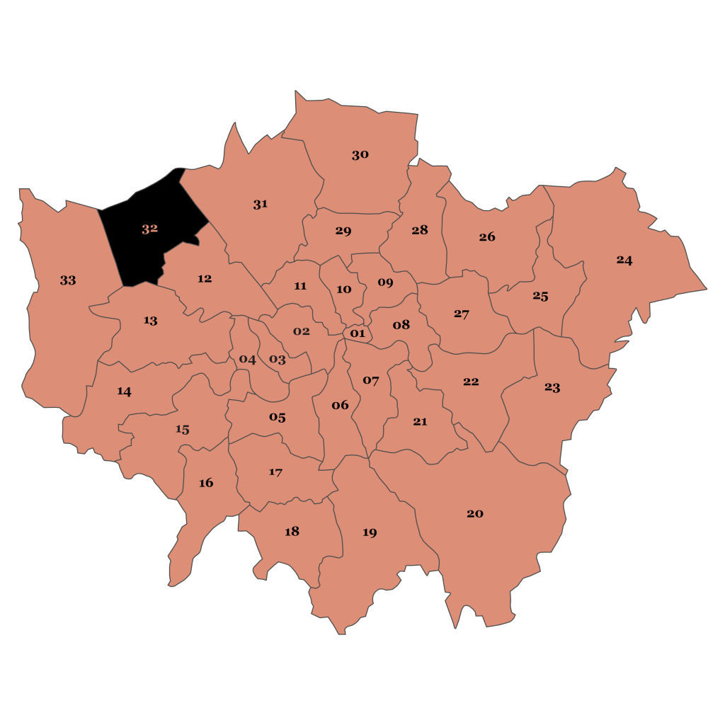 Map of London, Harrow
