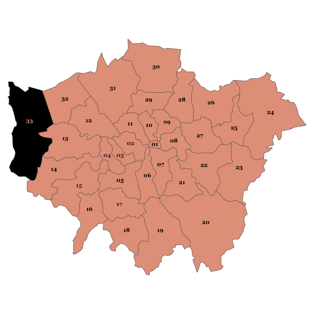 Map of London, Hillingdon